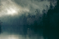 """Low Clouds and Light Rays Over River""  Mendocino County, CA"